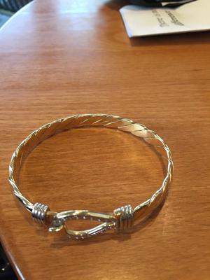 9ct solid gold and diamond bangle
