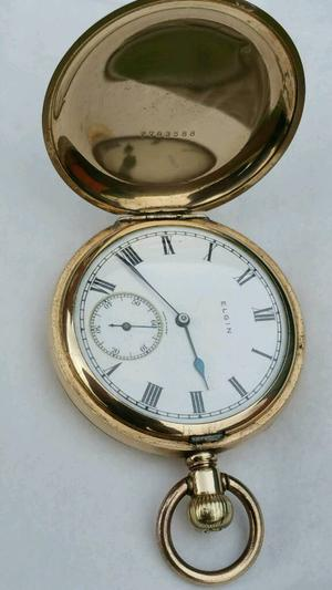 Antique Full Hunter Elgin Pocket Watch