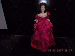 Beautiful Porcelain Doll on Stand in Red Dress with Beaded Necklace - Collection from DE22