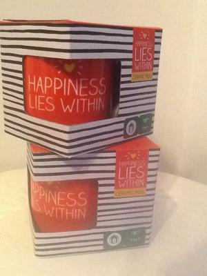 Happy Jackson Happiness Lies Within ceramic mugs New boxed