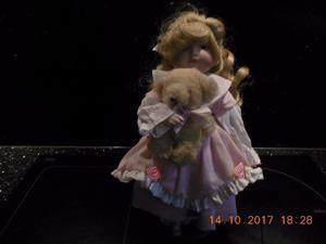 Little Girl Porcelain Doll and Teddy Bear on Stand - Collection from DE22