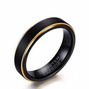 Mens Black Matte Finished Gold Colour Striped Band Tungsten Wedding Rings