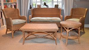 WICKER CONSERVATORY 5 PIECE SET - SOFA, 2 ARMCHAIRS, COFFEE & SIDE TABLES