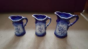 3 Staffordshire Ironstone blue and white jugs