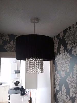 Crystal drop lampshade black pleated