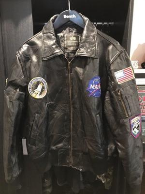 NASA USA Leather Bomber Jacket, Patchwork, Alpha Industries, Size Large