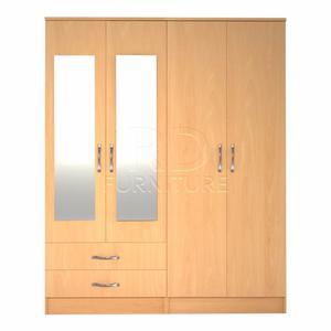 classy 4 door 2 drawer mirrored wardrobe beech effect