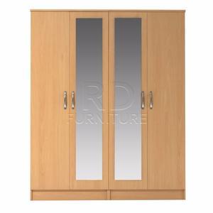 classy 4 door double mirrored wardrobe beech effect