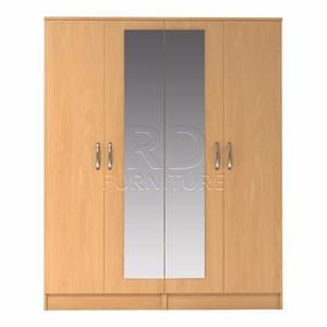 classy 4 door mirrored wardrobe beech effect