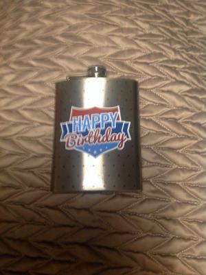 Happy birthday hip flask