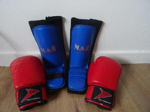 MAR shin guards, and pro training boxing gloves.