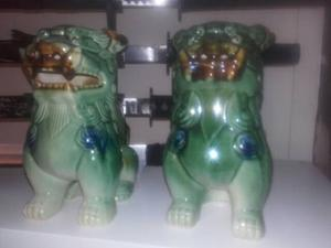Pair of jade blue and green chinese foo