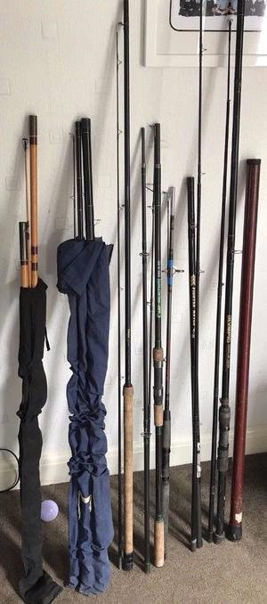 Job Lot of 8 Mixed Rods - All Usable Various Types Carp Float Match Fishing Rods
