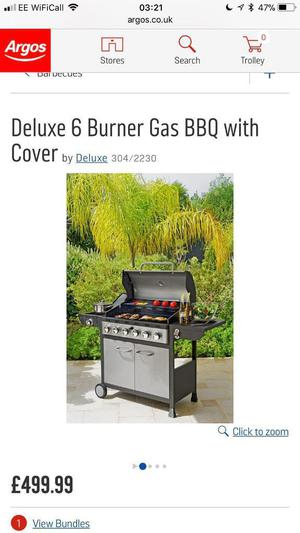 £500 delux 6 burn bbq gas bottle included used once