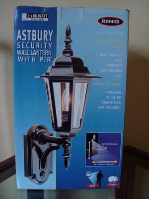 ****Black Outdoor 'Astbury' Security Wall Lantern With Pir Motion Sensor****