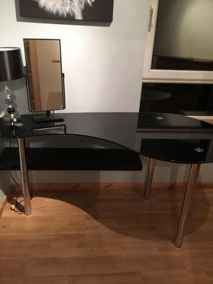 Glass desk/dressing table black. (mirror, floating shelve and lamp free to whoever buys dresser)