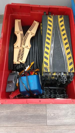 Job lot of Scalextric track, controllers, barriers, transformer and one car