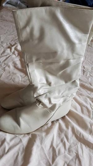 Ladies cream knee high boots flat heels