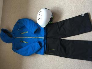 Boys ski jacket, trousers and helmet