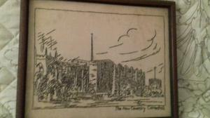 Hand stitched picture of new Coventry cathedral