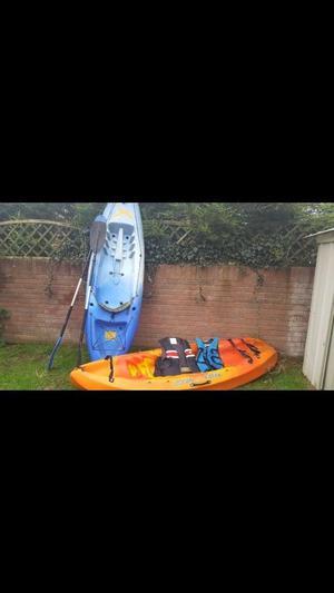2 kayaks, paddles and life jackets