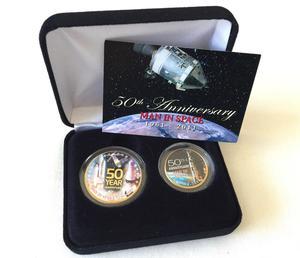 Apollo Moon landing 50th Anniversary NASA 24K Gold Plate Rare Collectible 2 Coin Set In Display Case