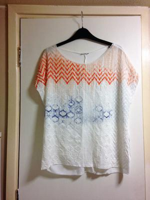 **BRAND NEW** Womens size 12 white, blue, orange patterned short sleeve top from Zara