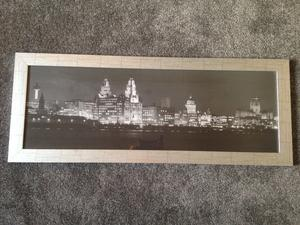 Black and White Photo in Silver Frame of Liverpool Sky Line