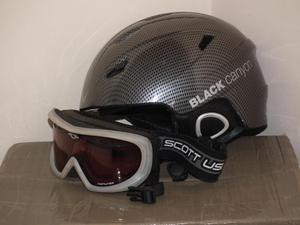 Mens ski helmet and goggles