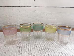 Set of 5 vintage retro shot glasses