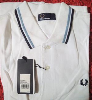 FRED PERRY Polo Shirt size Large White Twin Tipped Brand New with Tags