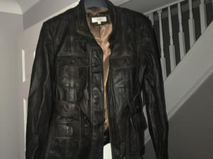 Next dark brown leather jacket size 12