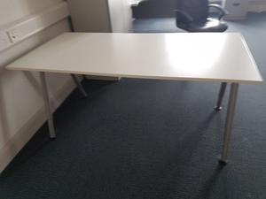 White height adjustable office desk