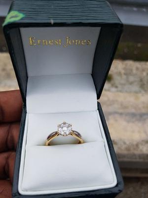 """18k Gold and silver engagement ring size """"M"""" for sale at a give away price"""