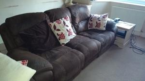 3 Seater & 2 seater reclining sofas in brown suede