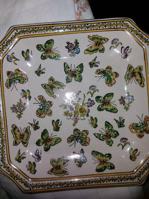 Antique Chinese hand painted butterfly plate