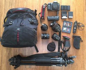 Canon 5D Mark ii SLR camera + 4 lenses + lots of extras