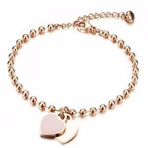 Double Heart Beads Charm Bracelet
