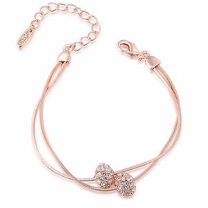 Rhinestone Beads Layered Chain Bracelet