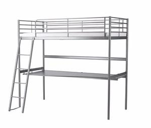 IKEA Metal Frame Loft Bed with Desktop