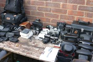 JOB LOT OF CAMERAS AND ACCESSORIES
