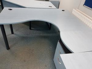 Managers corner office desk with matching desk high pedistal