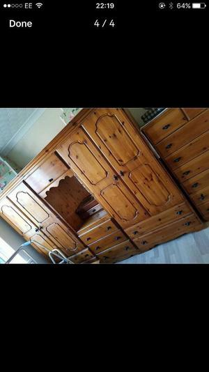 solid pine wardrobes with chest if drawers