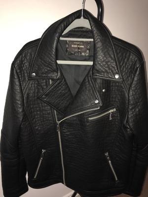 Men's river island faux leather biker jacket size large