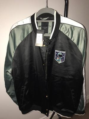 New look men's black and green bomber jacket XL brand new