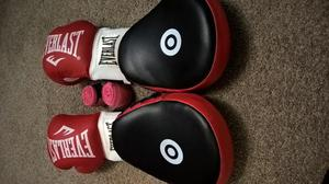 Boxing gloves, pads and wrap