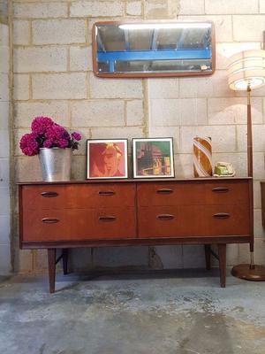 Mid Century Teak Sideboard Drawers Vintage