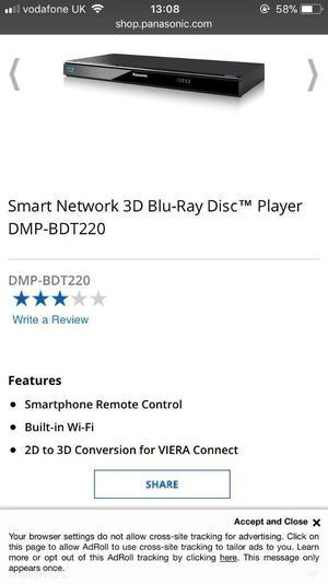 Panasonic smart Blu Ray player