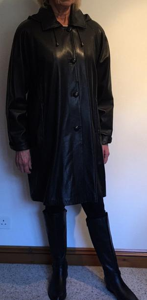 Soft black Italian leather coat with detachable hood