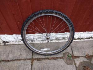 bicycle wheel complete with tyre and inner tube - size is 24 x